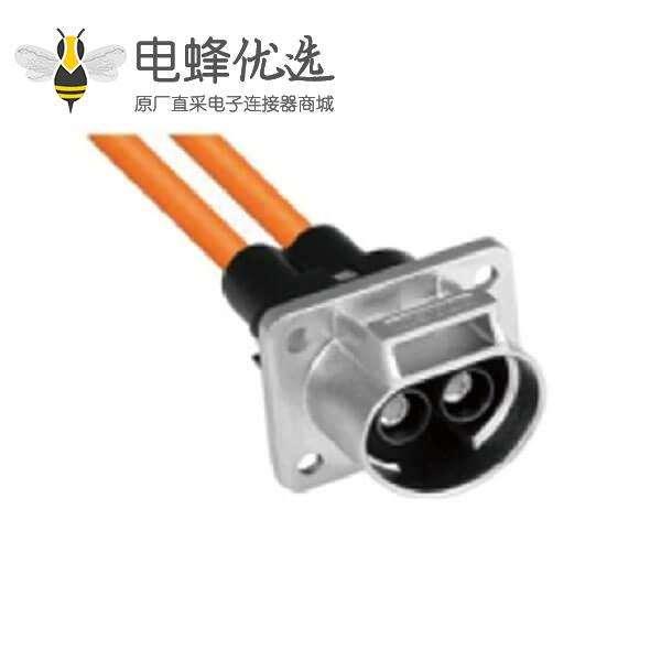 新能源汽车连接器35A2芯金属带屏蔽插座