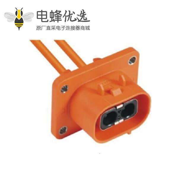 高压大电流连接器2芯插座50A塑料橙色外壳座子