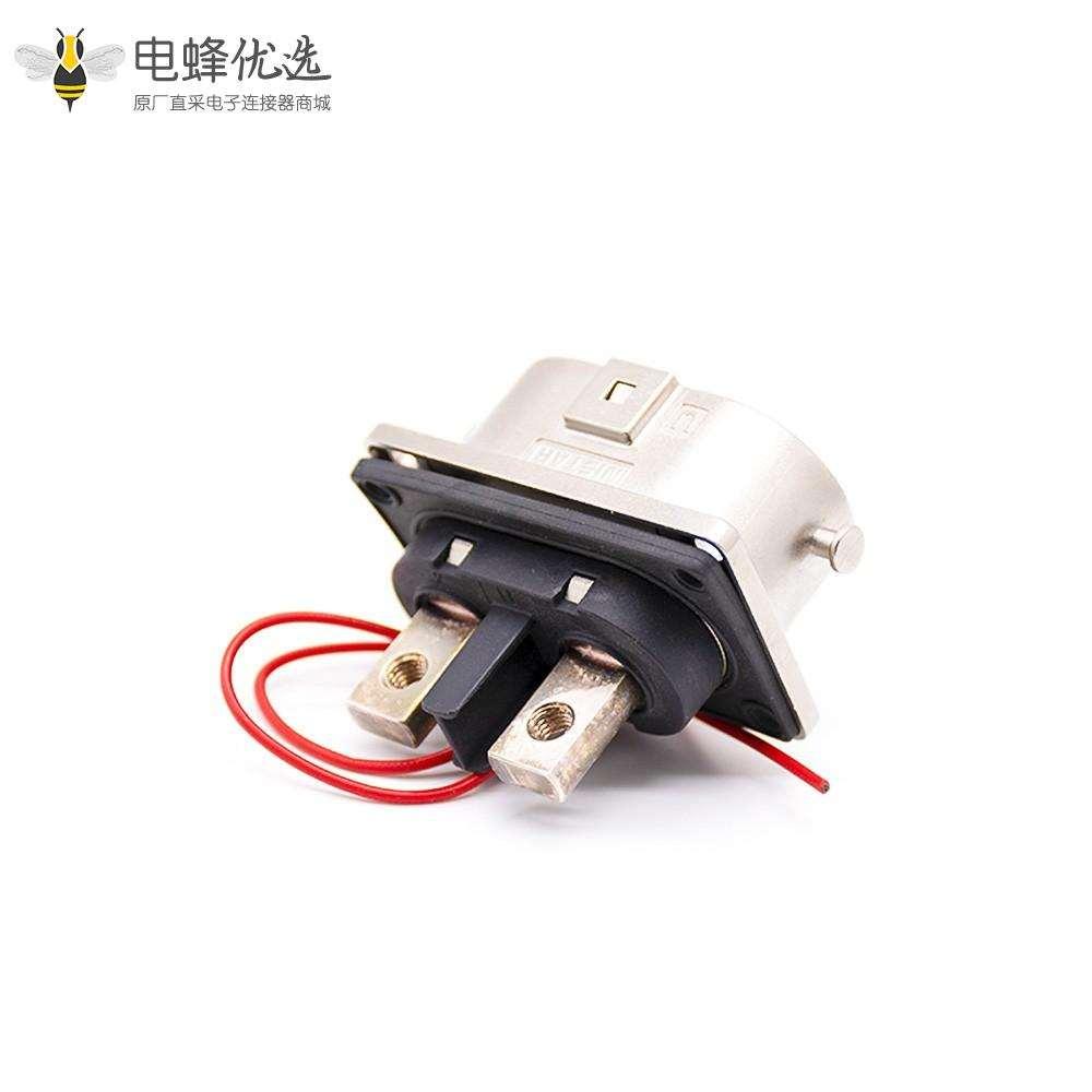 电池连接器2芯125A弯金属插头插座一对安费诺泰科替代款U键位接25平方线