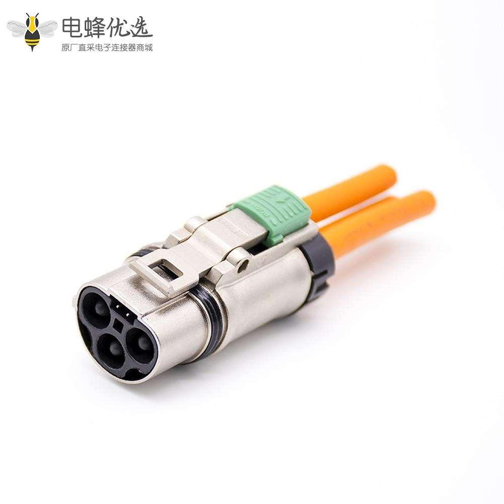 汽车连接器3芯35A高压自锁插头插座金属接6平方线