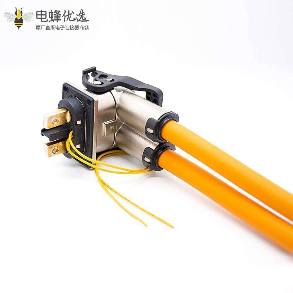 高压连接器直式金属弯插头和插座2芯电流125A金属接25平方线
