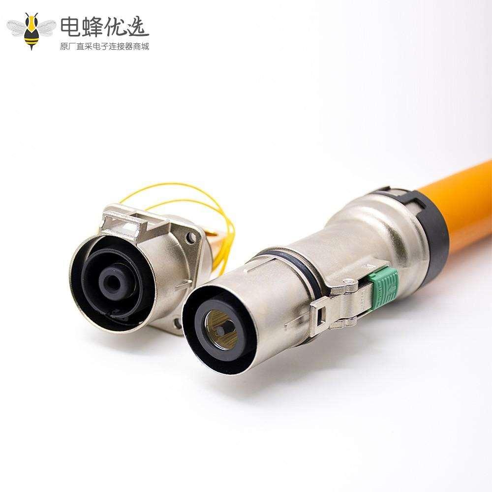 电动汽车高压连接器金属插座插头单芯直式电流500A高压互锁接150平方线