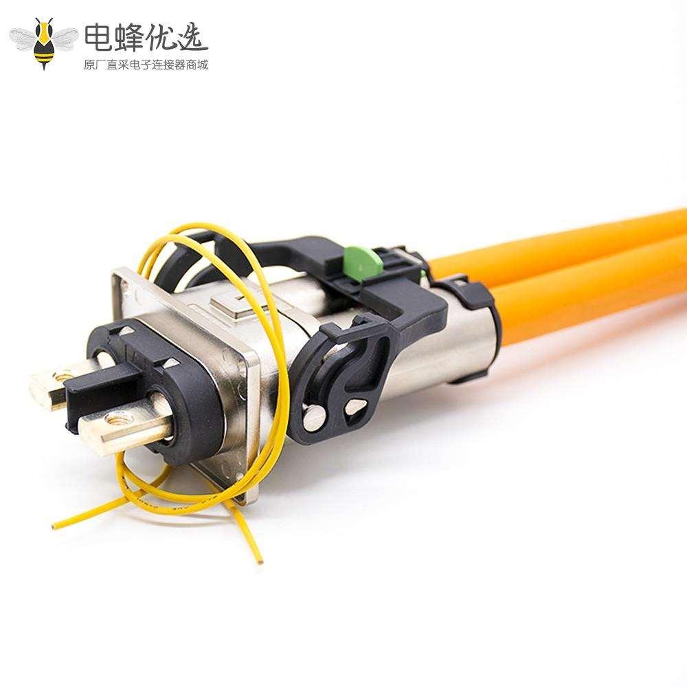 新能源汽车高压连接器插头插座直式金属2芯电流125A直式互锁接25平方线