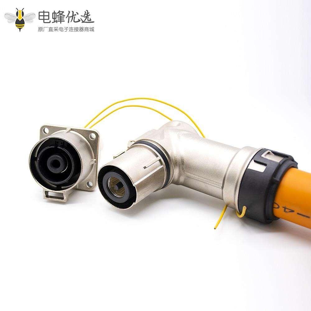 高压互锁连接器金属带屏蔽单芯弯插头和插座电流500A接150平方线