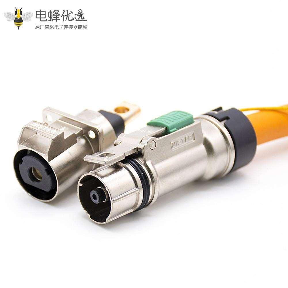 高压插座直式单芯金属直头插头+插座接25平方线电流125A互锁连接器