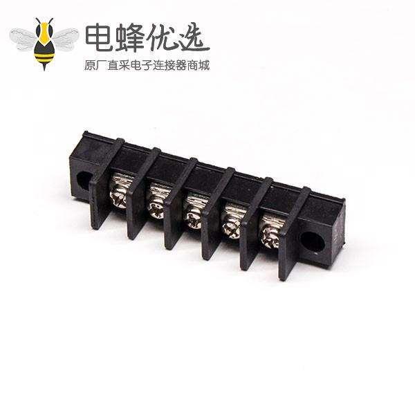面板安装接线端子5芯直式黑色带法兰栅栏式接线端子
