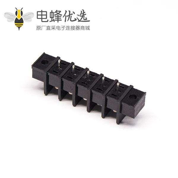 PCB控制栅栏式端子5芯直式带法兰穿孔式接线连接器
