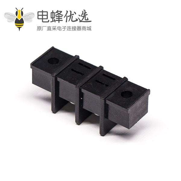 栅栏式带耳朵2p接线端子直式2孔法兰不带针黑色