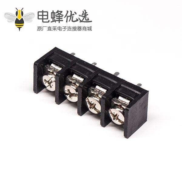 PCB板接线端子直式4芯黑色PCB板安装带螺钉