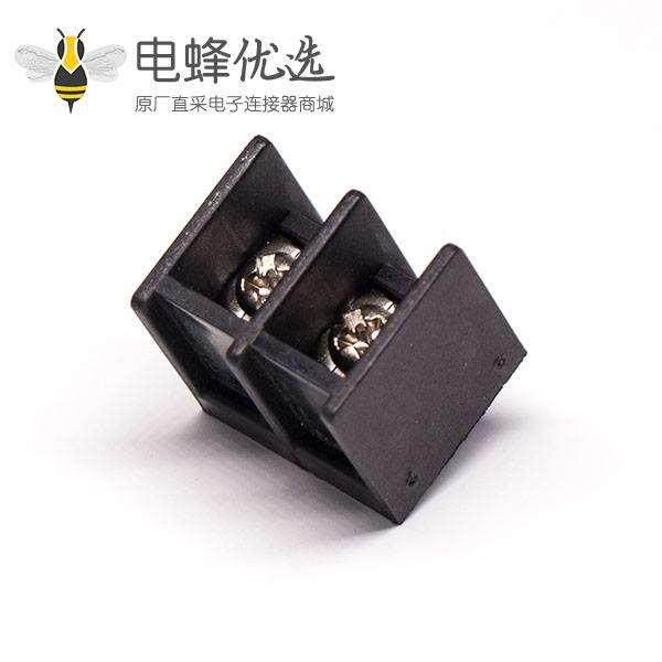 接线铜端子2芯直式黑色插PCB板栅栏式接线端子