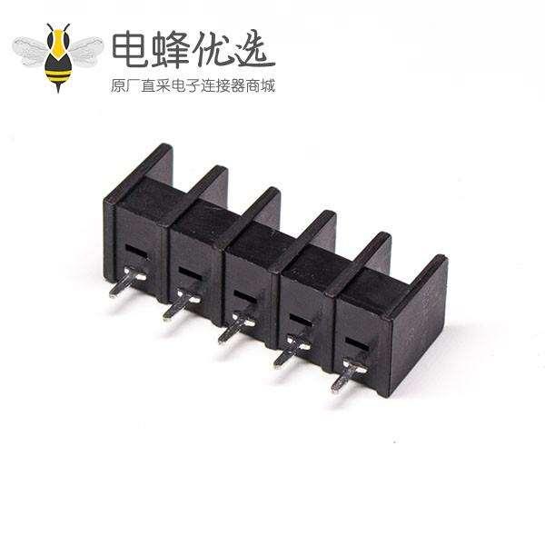 栅栏式接线端子台5芯直式黑色端子接PCB板安装