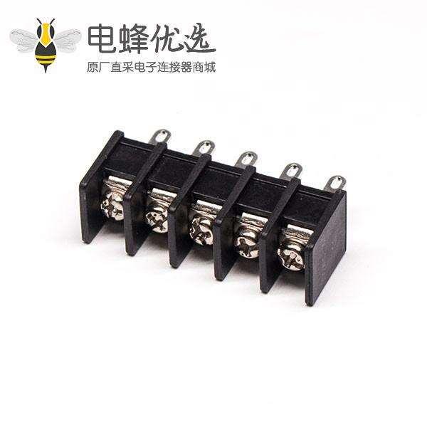 焊线式端子5芯直式穿孔式黑色PCB板安装栅栏式端子接线