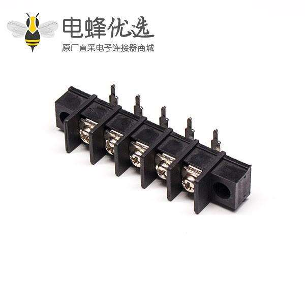 铜接线端子弯90度栅栏式插PCB板带法兰黑色