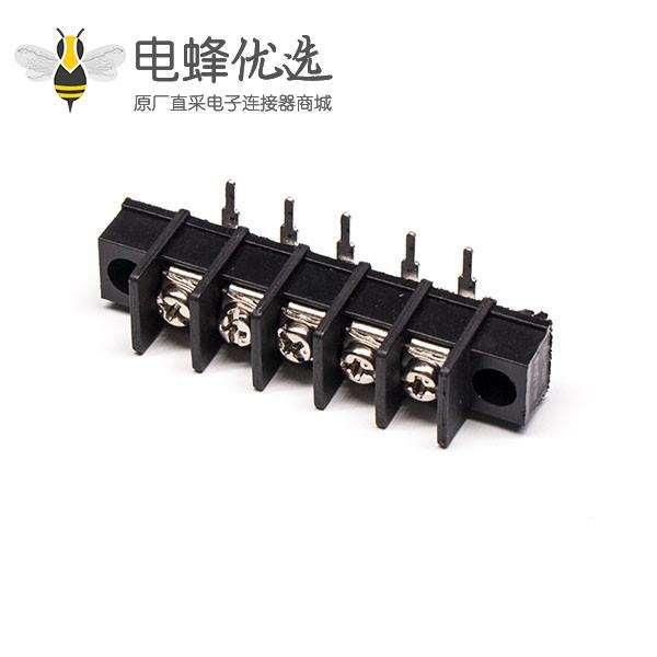 弯脚接线端子黑色栅栏式PCB板带法兰端子接线