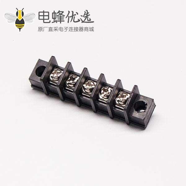 栅栏接线端子排5芯直式黑色带法兰穿孔式插PCB板