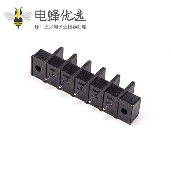 端子排接线5芯栅栏式直式带法兰PCB板黑色端子接线