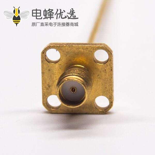 镀金的SMA母头带4孔法兰接PCB板