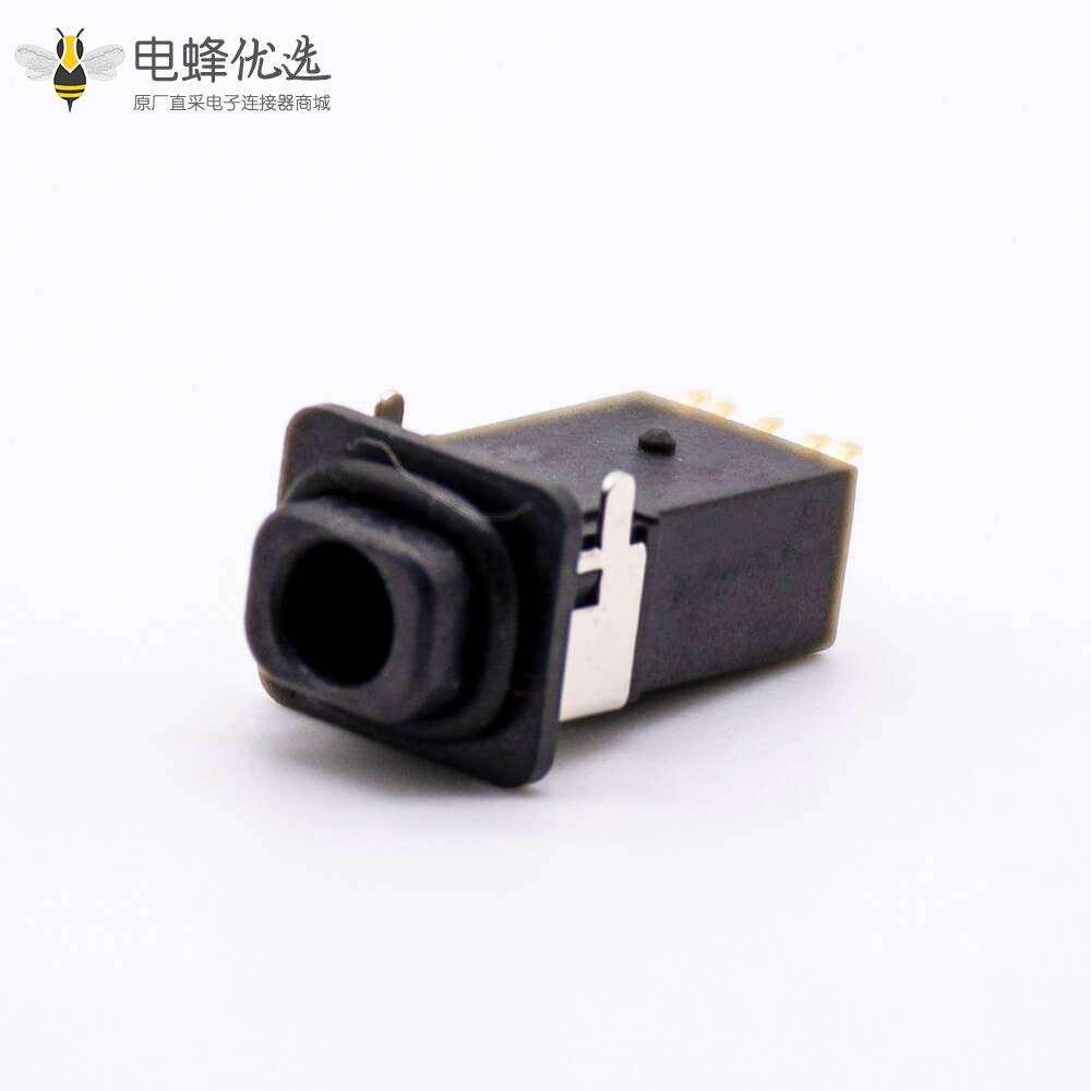 防水3.5mm耳机座4段防水等级IP67贴板带防水胶圈正面挤压板上型不带耳朵