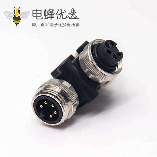 7/8连接器3通连接器T型5芯两母转一公转接头分线器