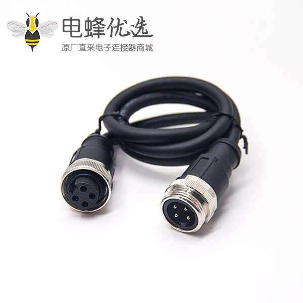 7/8连接器4芯公头转母头注塑成型式直头带线电缆电线1米