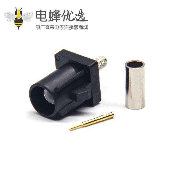 Fakra 公头直式A型黑色压接焊接连接器 RG174 线