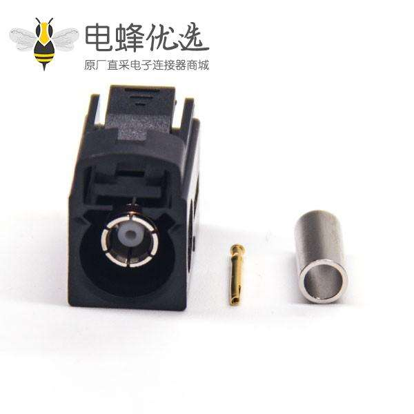 Fakra 母头直式A型黑色压接焊接连接器 RG174 线