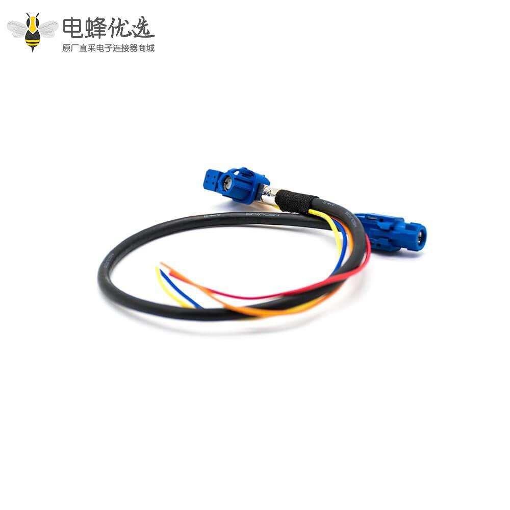 HSD链接器4芯直式母头转母头弯式接线连接器1米