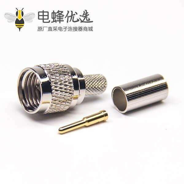 迷你UHF连接器公头直式压接式RG58射频同轴电缆连接器