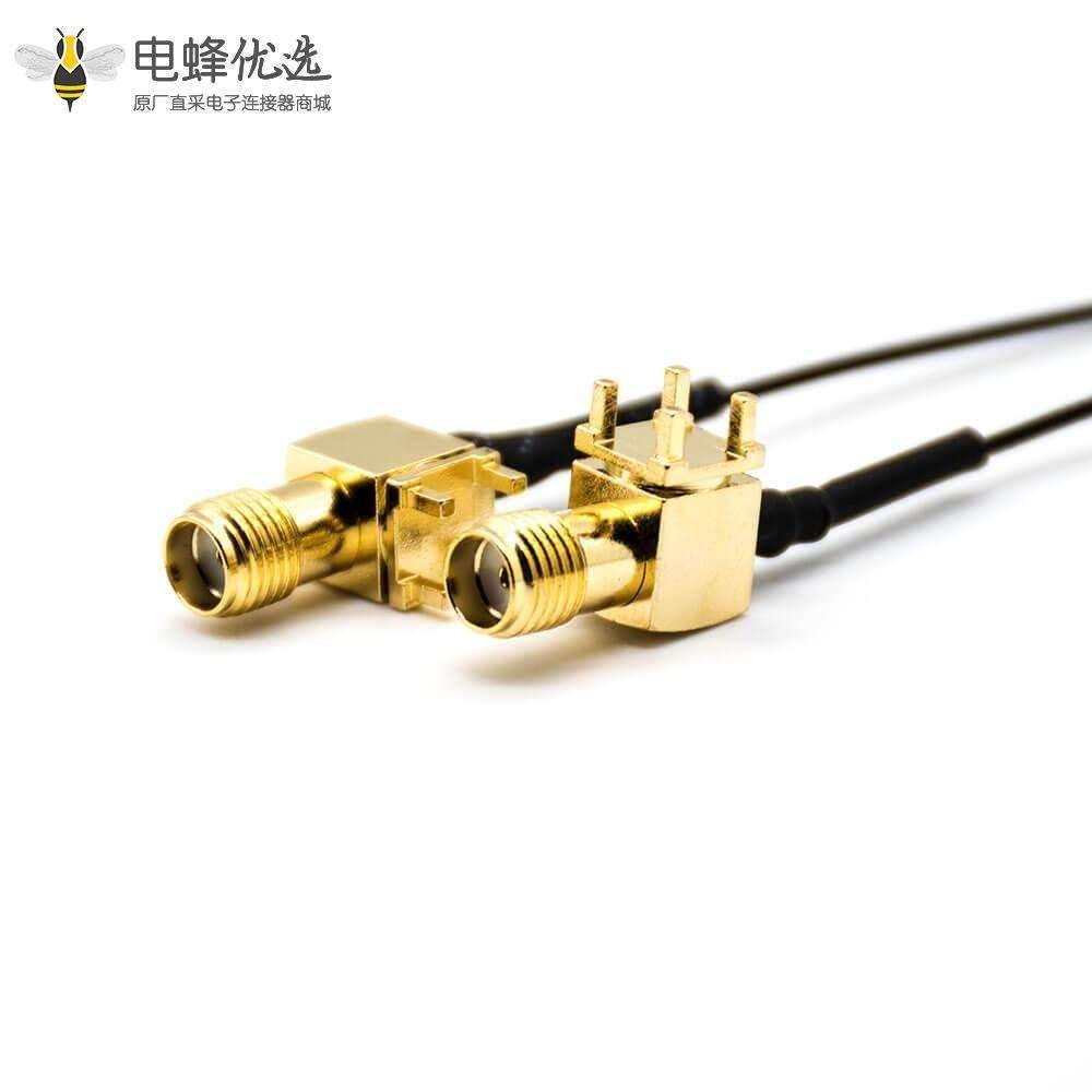 MMCX转接SAM公头转公头弯式PCB板插孔接线连接器1米
