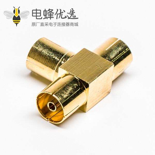 PAL接口T型三通转接头母转母RF连接器镀金