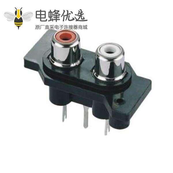 RCA接口弯式母头1*2面板安装连接器
