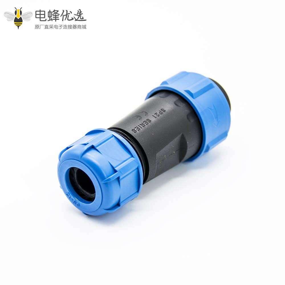 工业连接器防水SP21直式公插头母插座2芯后锁板螺母垫片防尘焊接