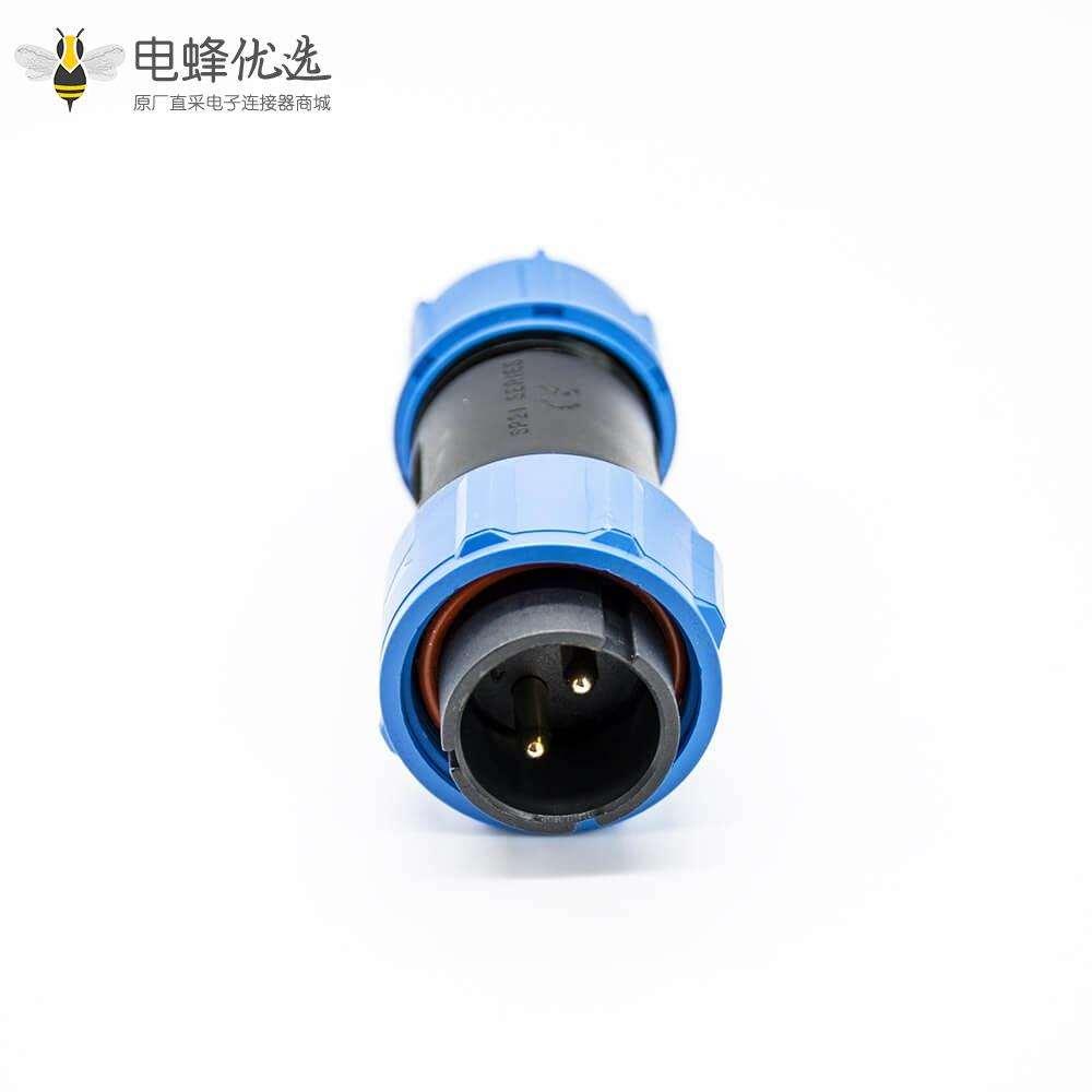 工业SP直式2芯公插头两孔法兰母插座焊接接线连接器