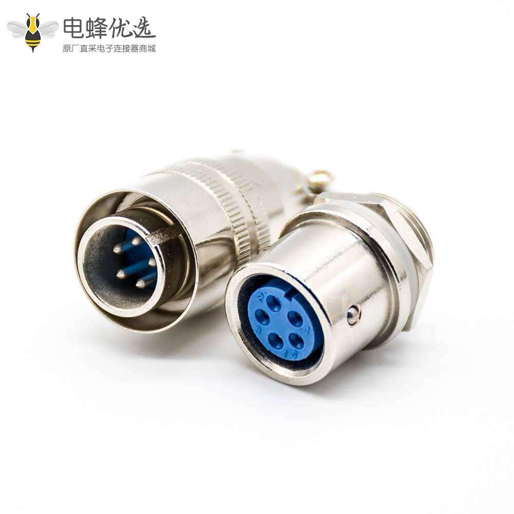 XS16推拉式连接器5芯公插头母插座焊接式面板安装