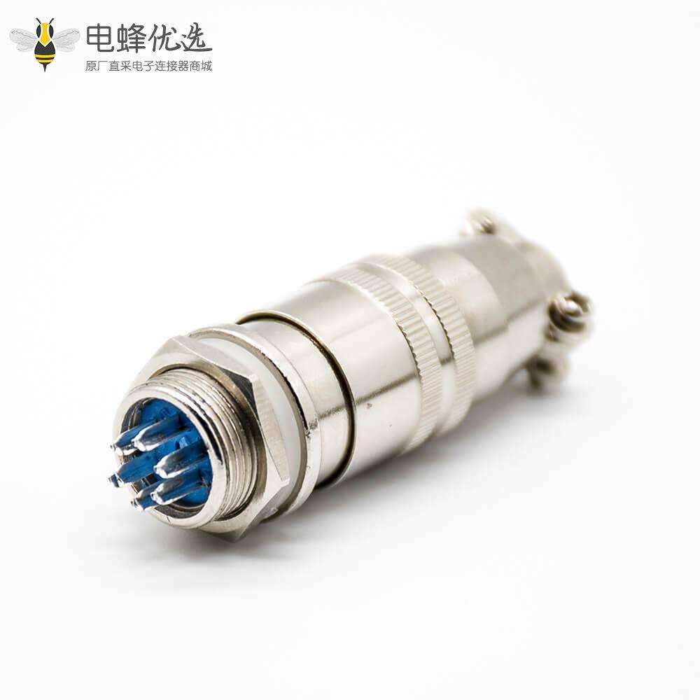 XS16圆形卡扣式航空插头6芯公母对接焊接式连接器
