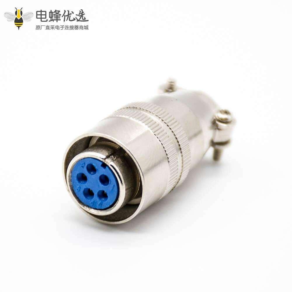 XS16圆形卡扣式接头5芯母头直式焊线式航空插头