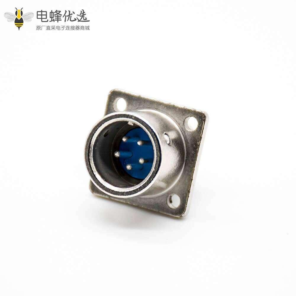 航空插座XS16-5芯公头直式焊线式面板安装四孔法兰