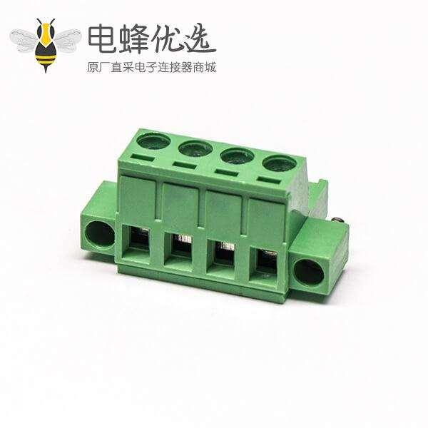 绿色插拔欧式端子直式插孔两螺丝锁紧端子接线