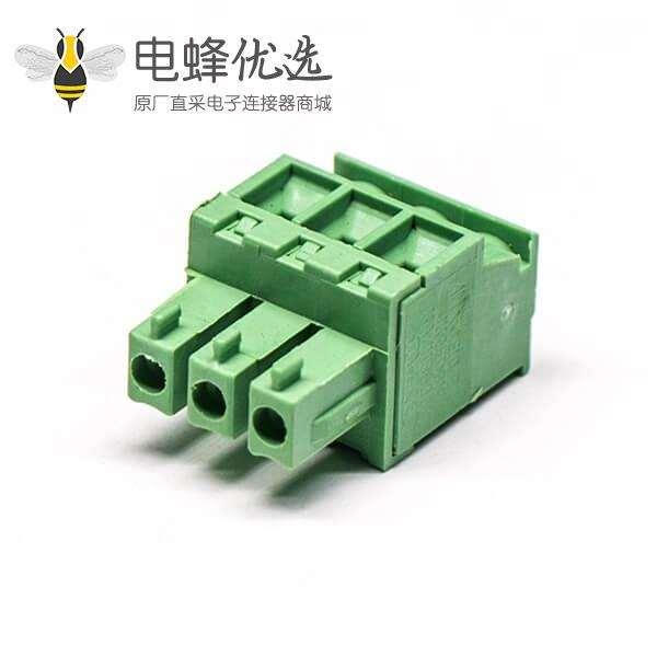 绿色插接端子直式插拔式压接接线三螺丝穿孔式插板