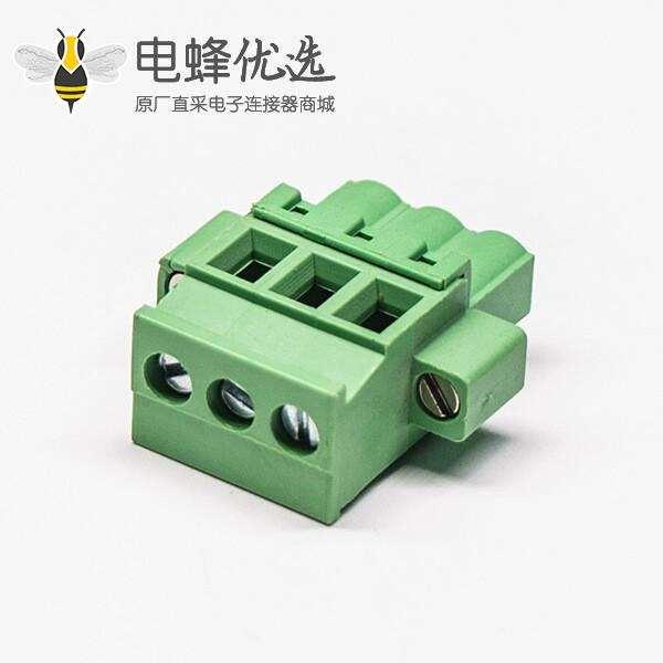 绿色端子插头插拔式三螺钉直式压接接线连接器
