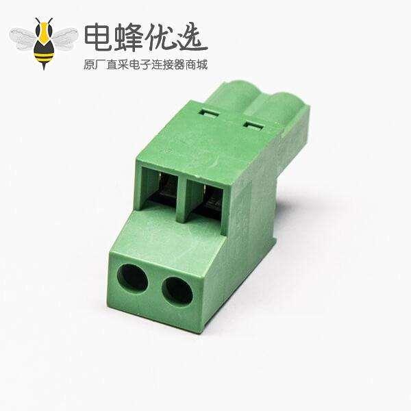 插拔端子梯式双层4孔接线插拔式绿色端子连接器