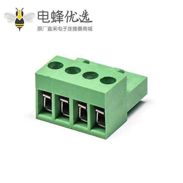 大电流插拔式端子带螺丝带孔弯式端子绿色接线插头