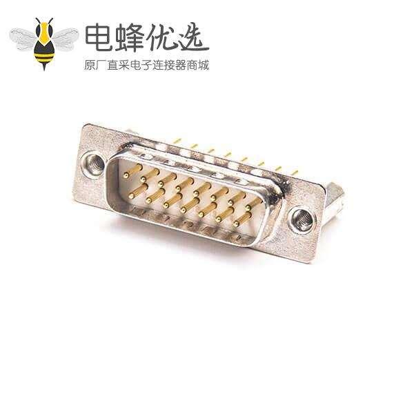 D-sub15PIN公头180度加高焊板镀金车针