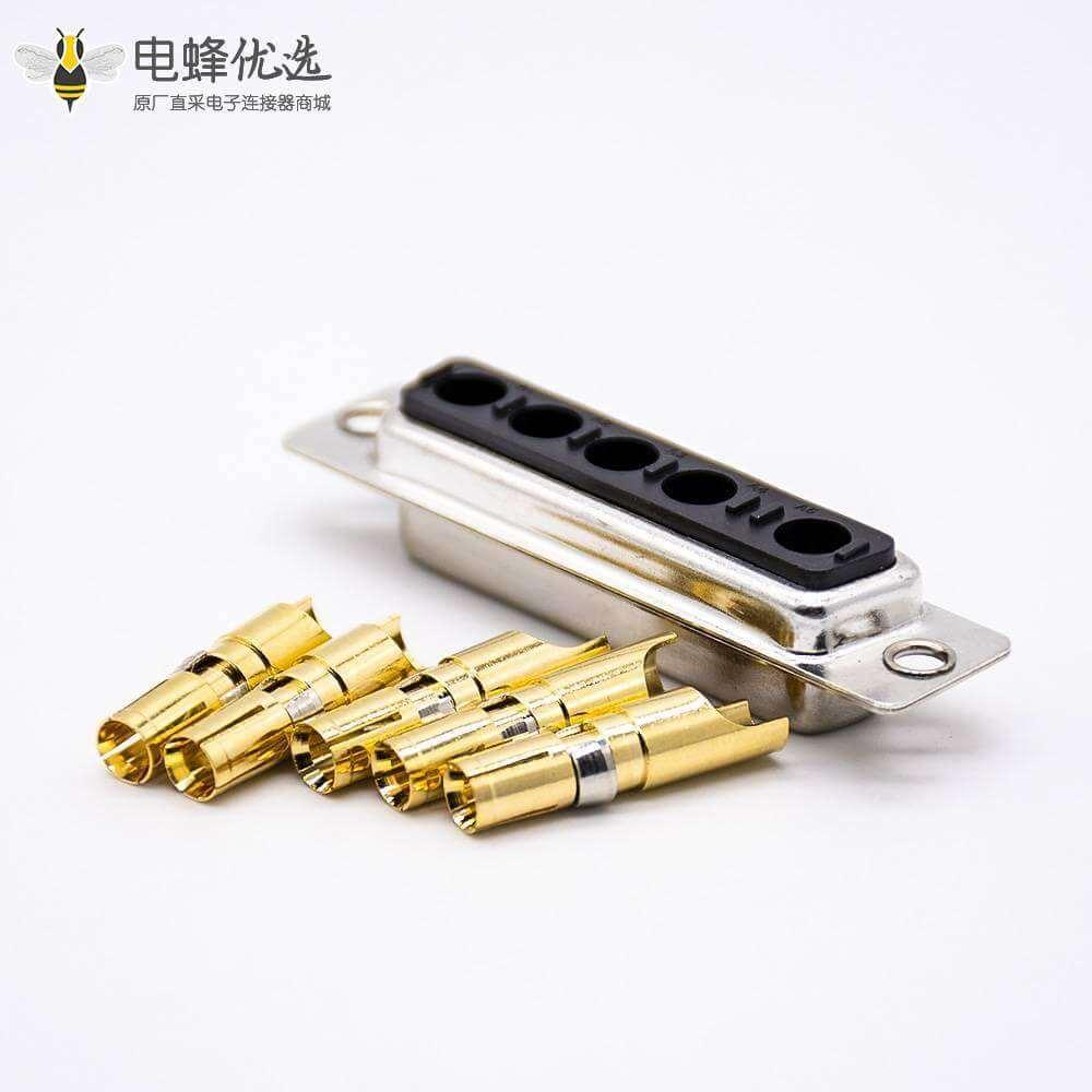 混合大电流D Sub连接器单端口公插座5W5直式冲针触头镀金