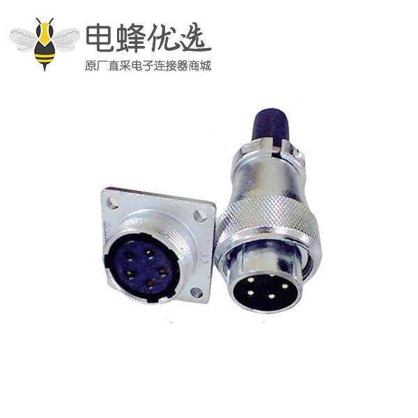 工业航空连接器5pin直式防尘插头插座