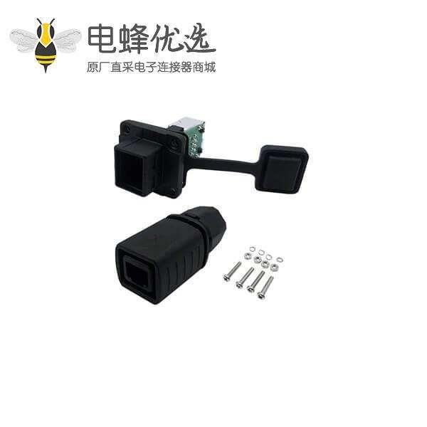防水RJ45以太网插头矩形面板安装工业防水连接器带组合帽和PCB板