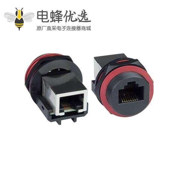 防水RJ45网络面板式Cate5e连接器工业耦合器