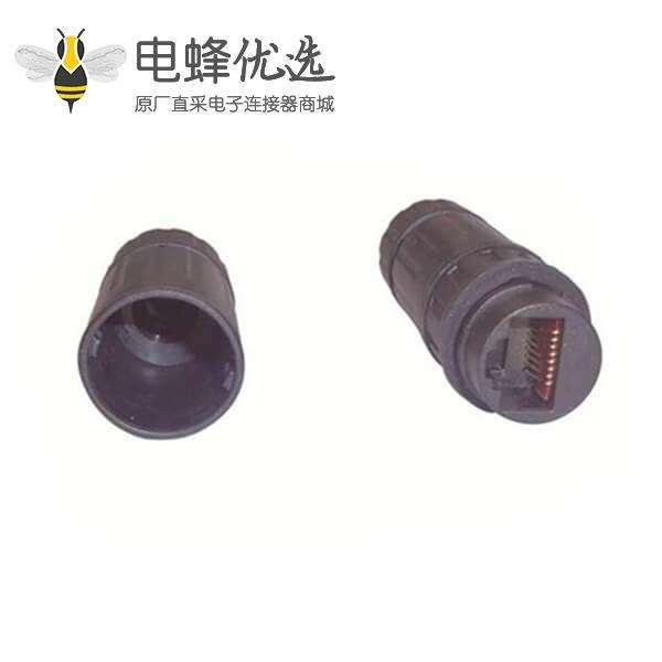 防水RJ45连接器厂商供应网线防水插头直通防水网络信号连接器
