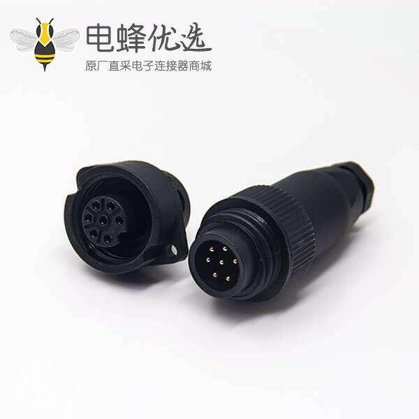 RD24 J10 接头7芯航空防水公插头母插座2孔法兰安装全塑电缆接头圆形不带屏蔽连接器