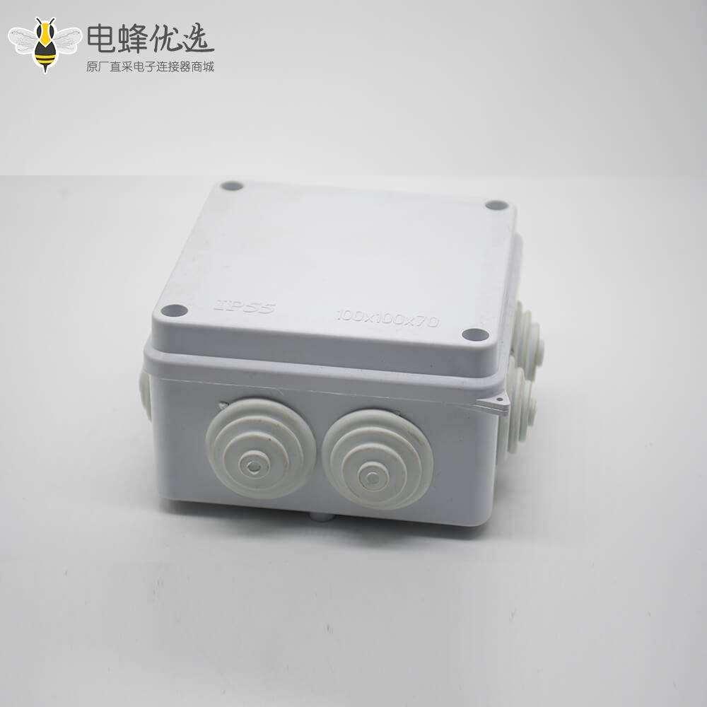 防水接线盒IP55矩形100×68×50 ABS塑料螺丝固定密封盒